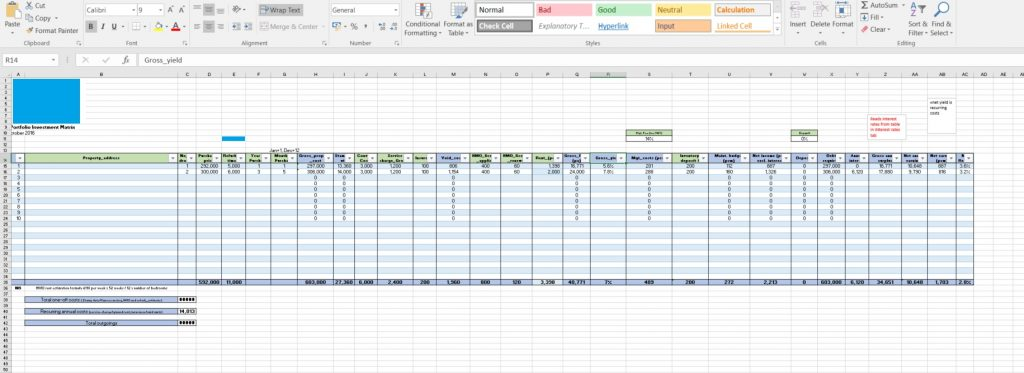 Portfolio management spreadsheet - main page
