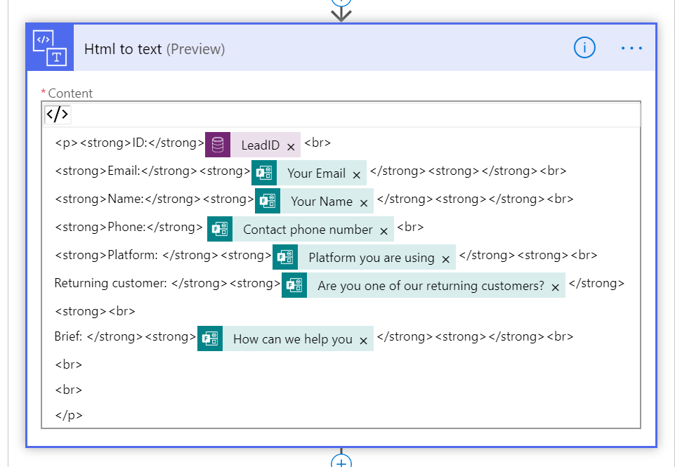 Using HTML to text action in MS Flow