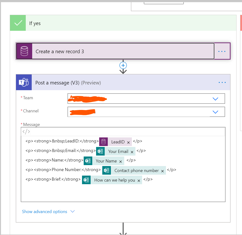 POst a message to teams in Microsoft FLow